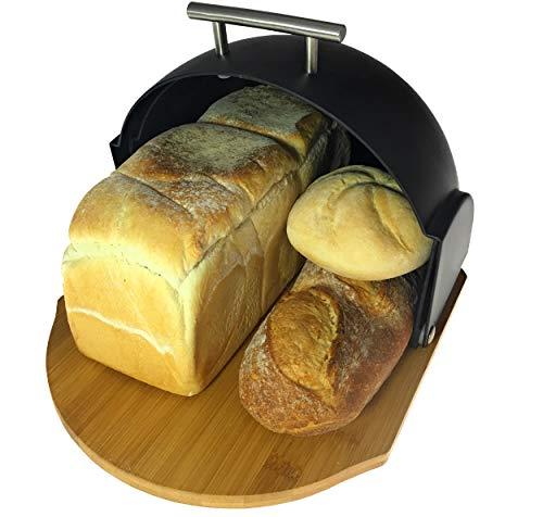 Solander Skelf Bread Box Modern  Bread Keeper Compact Rolltop Bread Bin with Bamboo Cutting Base  2-in-1 Bread Box with Cutting Board  Roll Top Bread Storage  Great Gift Idea