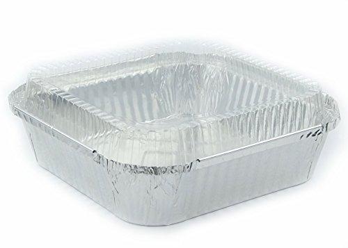 Disposable Aluminum Foil Pans 8 x 8 Square Cake Pan With Dome Lid 5 Sets