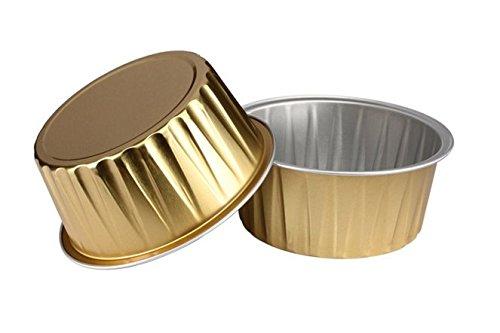 KEISEN 3 25 mini Disposable Aluminum Foil Cups 125ml 100PK 4OZ for Muffin Cupcake Baking Bake Utility Ramekin Cup GOLD