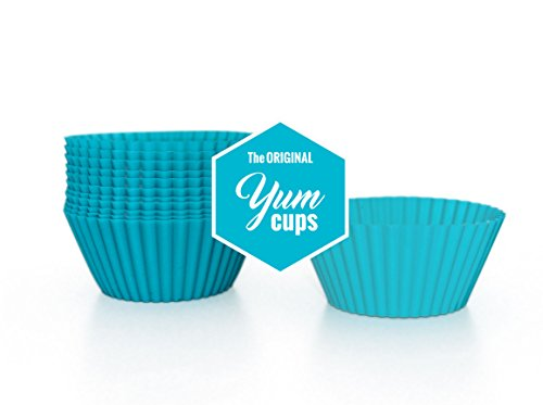 The Original YUM CUPS 12-Pack Reusable Silicone Muffin and Cupcake Liners SERIES 1 -- TEAL