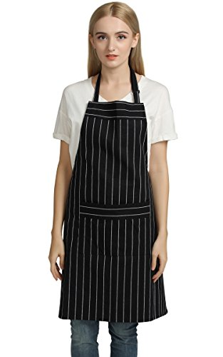 Chef Aprons Professional Kitchen Chef Works Chalk Stripe Bib Apron with Pockets Adjustable Neck Strap Long Waist Ties 100 Pure Cotton Apron in Large Size Black