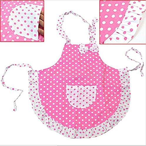 Childs Chef Apron Set Kid Apron Polka Dot Cotton Kitchen Cooking and Baking Wear Kit Adjustable Child 50x54cm Pink