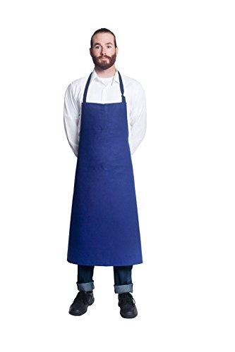 Bragard Professional Travail Bib Chef Apron Adjustable Strap Full Size Cotton - Blue