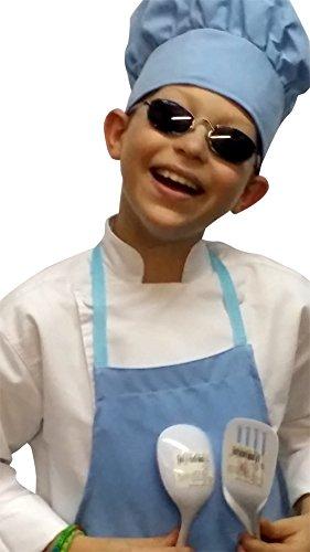 Chefskin Baby Blue Apron  Hat Baby Toddler Kid Children Chef Set Lite Fabric