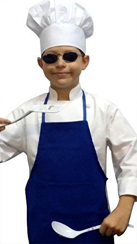 Chefskin Chef Set Blue Apron  1 Adjustable White Hat Fits 2-8