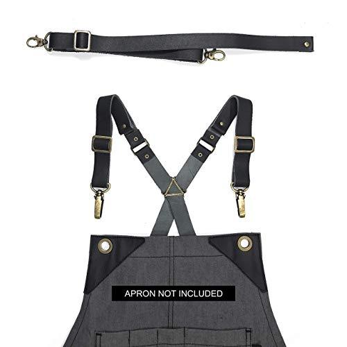 Full Grain Black Leather Strap Set for Cross-Back Aprons - Stylish Straps with Metal Hardware for Chef Barber Bartender Barista Tattoo Artist Mechanic - Adjustable for Men and Women