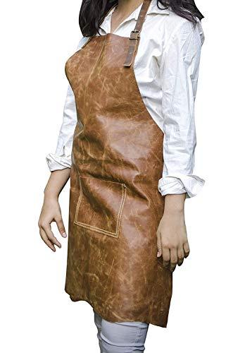 Yefa Handmade Genuine Leather Apron Stylist - Woodworking - Aprons Handmade Size -235 inch x 005 inch x 305 inch Dark Brown