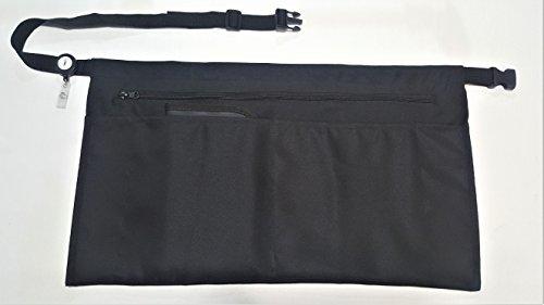 5 Pockets Black Waist Apron 22x13 inches Clip-on Server Apron with Zipper pocket Restaurant Half Aprons Waitress Waiter Server Bartender Busser Barista Money Apron Check Holder Organizer