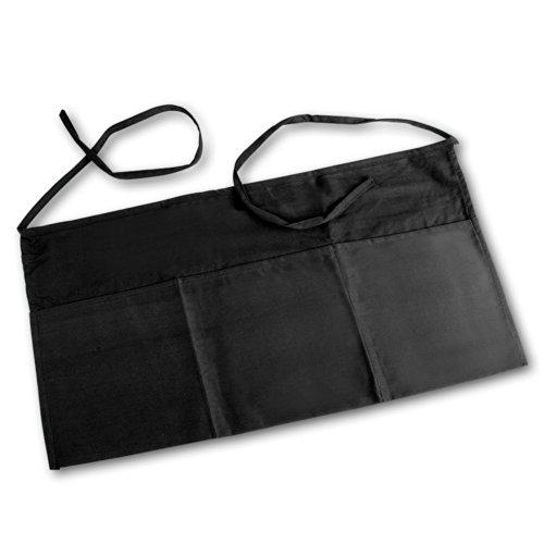 Linteum Textile 3-Pocket Black Waiter WAIST APRON 23x12 in 2-Pack