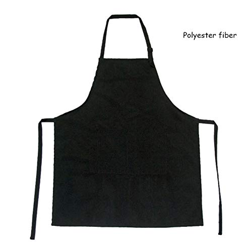 Wingbind Black Apron with Pockets Adjustable Neck Belt Bib Apron Waterproof Cooking Kitchen Aprons Baking Gardening Restaurant BBQ Painting for Men and Women