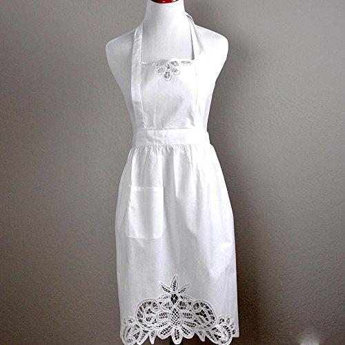 White Ladies Full Battenburg Lace Hostess Apron