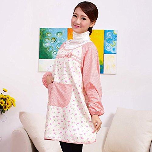 Apron for kitchenkitchen smockLong-sleeved waterproof apronsAnti-clothing-B