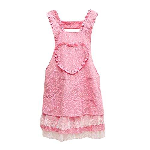 Cute Retro Pink Women Aprons Waitress Apron Maid Apron Lace Apron Chic Apron