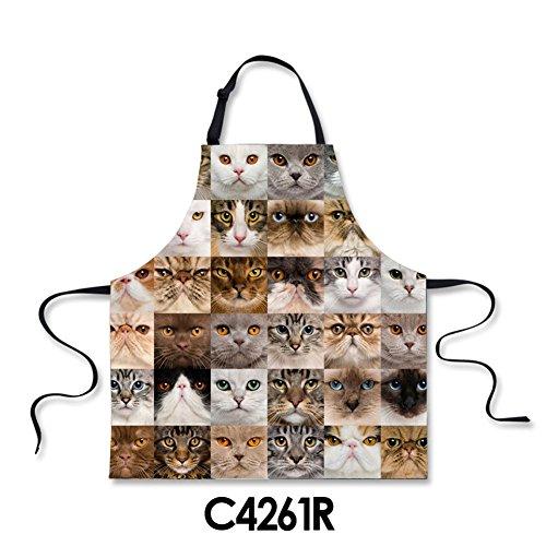 HUGSIDEA Pet Cat Face Print Novelty Kitchen Aprons for Men Women