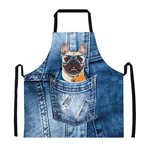 Pet Pug Dog Face Print Novelty Kitchen Aprons for Men Women