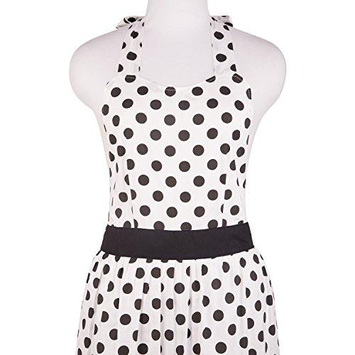 Neoviva Cotton Kitchen Apron for Hostess with Hidden Pockets Style Betty Polka Dots White