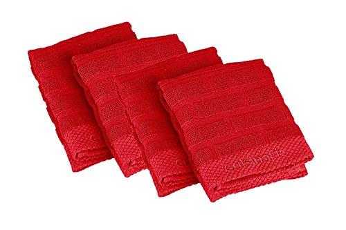 Cuisinart 100 Cotton Terry Kitchen Dish Cloth Set Sculpted Subway Tile Red 4pk
