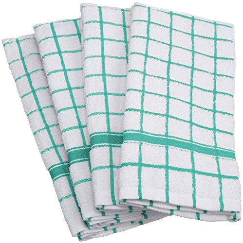 DII Cotton Terry Windowpane Dish Towels 16 x 26 Set of 4 Machine Washable and Ultra Absorbent Kitchen Bar Towels-Aqua