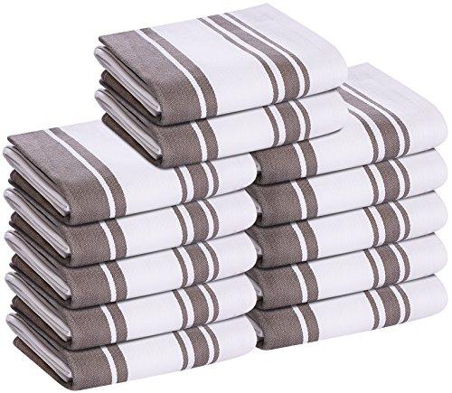 Kitchen Towels Dish Cloth 12 Pack Machine Washable Cotton Gray White Kitchen Dishcloths Dish Towel Tea Towels 15 x 25 Inch by Utopia Towels