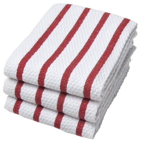 Now Designs Basketweave Kitchen Towel Set of 3 Red