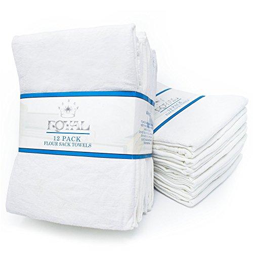 Royal 12-Pack Flour Sack Towels - 31 x 31 Kitchen Towels - Absorbent White Dish Towels - 100 Ring-Spun Cotton Bar Towels