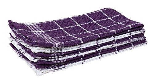 J M Home Fashions Waffle Weave Kitchen Towel Set 6 Pack Eggplant