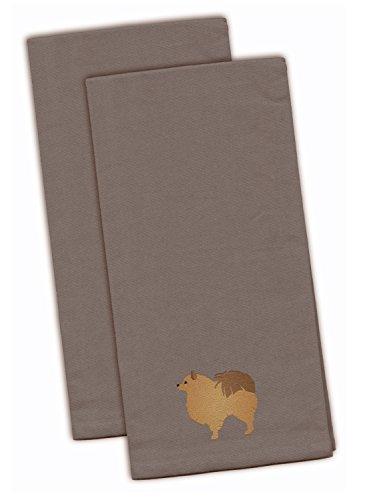 Carolines Treasures BB3442GYTWE Pomeranian Gray Embroidered Kitchen Towel Set of 2 28 x 19 Multicolor