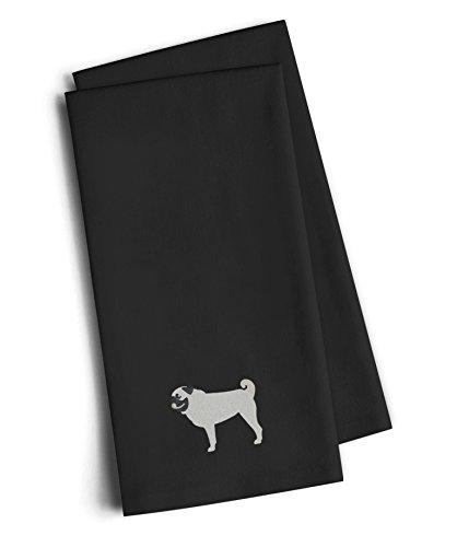 Carolines Treasures BB3447BKTWE Pug Black Embroidered Kitchen Towel Set of 2 28 H x 19 W Multicolor