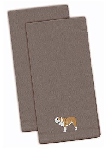 Carolines Treasures BB3462GYTWE English Bulldog Gray Embroidered Kitchen Towel Set of 2 28 x 19 Multicolor