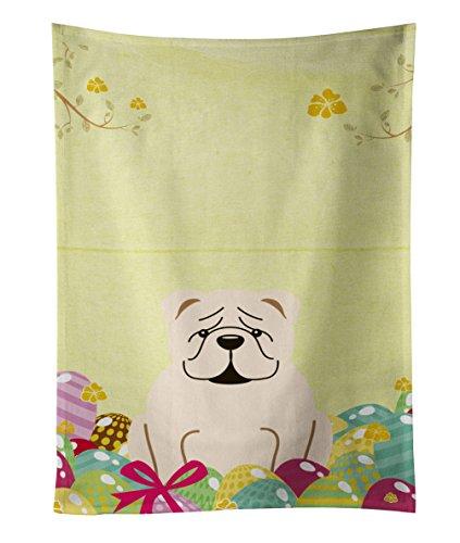 Carolines Treasures Easter Eggs English Bulldog White Kitchen Towel Multicolor 25 x 15