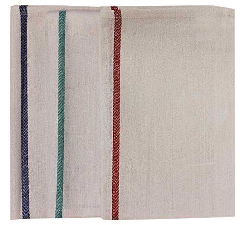 Garnier-Thiebaut USA Kitchen Towel with Red Stripe 100 Cotton 15 W x 25 L White