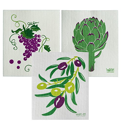 Wet-It Swedish Dishcloth Set of 3 Artichoke Olives Grapevine