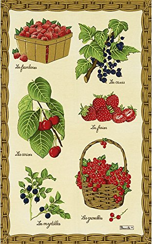 Beauville Fruits Rouges Red Fruit French Kitchen Towel Silk Screen Hand Printed 82 Cotton  18 Linen 20 X 31 Made in France