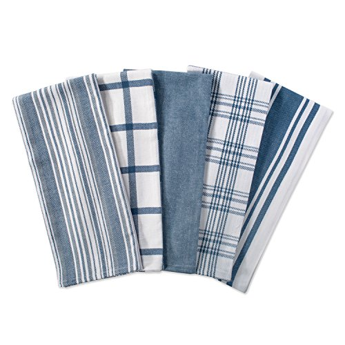 DII Cotton Luxury Assorted Kitchen Dish Towels 18 x 28 Set of 5 Ultra Absorbent Fast Dry Professional Grade Tea Towels for Everyday Cooking and Baking-Stone Blue