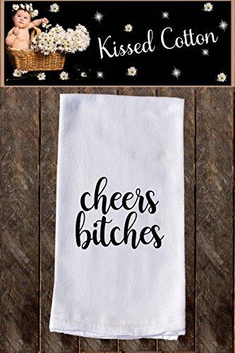 Cheers Bitches Funny Dish Towels  Funny Tea Towels  Flour Sack Towel Kitchen Decore Custom Tea Towel Kitchen Gift Dishcloth  Dishtowel KC000060