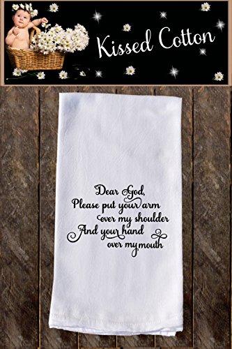 Dear God Funny Dish Towels  Funny Tea Towels  Flour Sack Towel Kitchen Decore Custom Tea Towel Kitchen Gift Dishcloth  Dishtowel Dish Towel KC000079