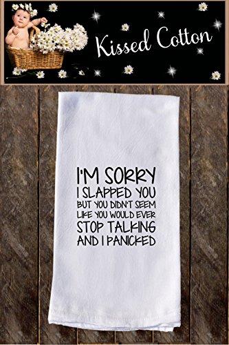 Sorry I Slapped You Funny Dish Towels  Funny Tea Towels  Flour Sack Towel Kitchen Decore Custom Tea Towel Kitchen Gift Dishcloth  Dishtowel Dish Towel KC000103