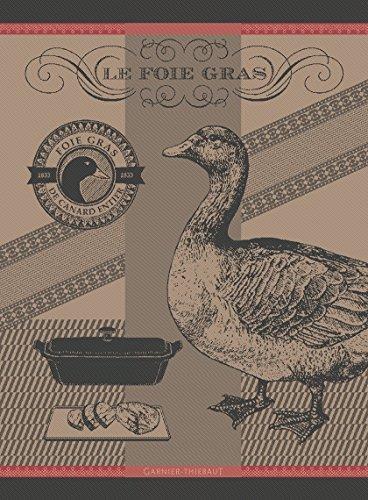 Garnier Thiebaut Foie Gras Lisère Rouge French Jacquard Kitchen Towel 100 Percent Cotton 22 Inches x 30 Inches