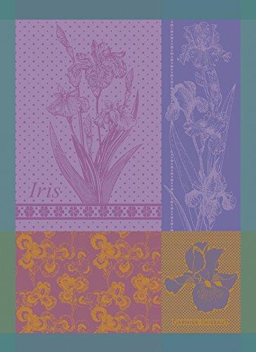 Garnier Thiebaut Iris Violine French Jacquard Kitchen Towel 100 Percent Cotton 22 Inches x 30 Inches