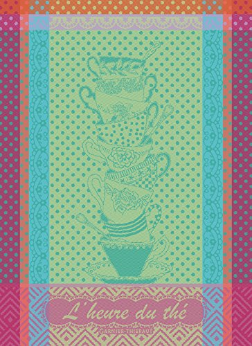 Garnier Thiebaut LHeure du Thé Anis Tea Time Anis French Jacquard Kitchen Towel 100 Percent Cotton 22 Inches x 30 Inches