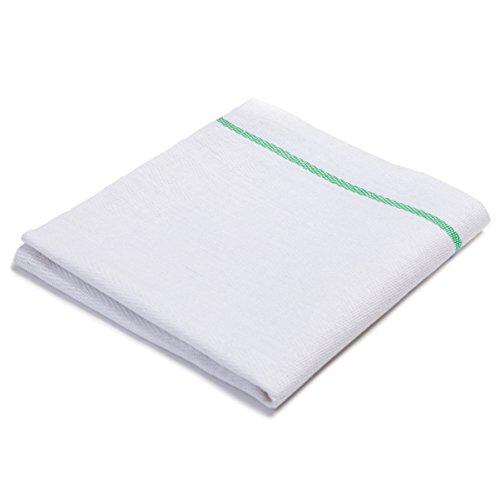 Herringbone Green Center Striped Kitchen Towels 100 Cotton 48 pack