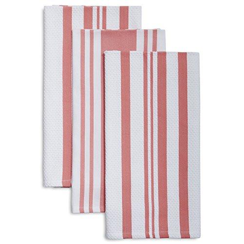 Sur La Table Striped Kitchen Towels 28 x 20 Set of 3 Light Pink