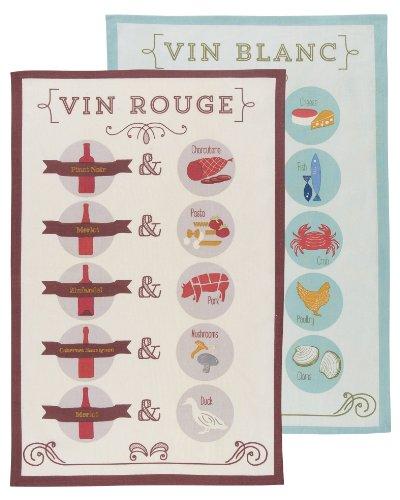 Now Designs Tea Towels Wine Pairings Print Set of 2