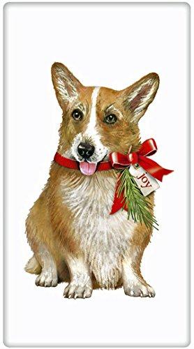 Festive Christmas Corgi Dog 100 Cotton Flour Sack Dish Tea Towel - Mary Lake Thompson 30 x 30