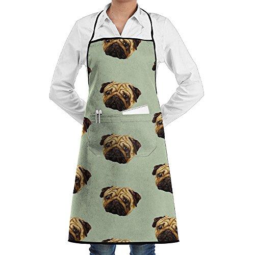 Wyfcxc Pug Dog Designer Chef Aprons Cookingrn Studio Aprons Sewing Pocket