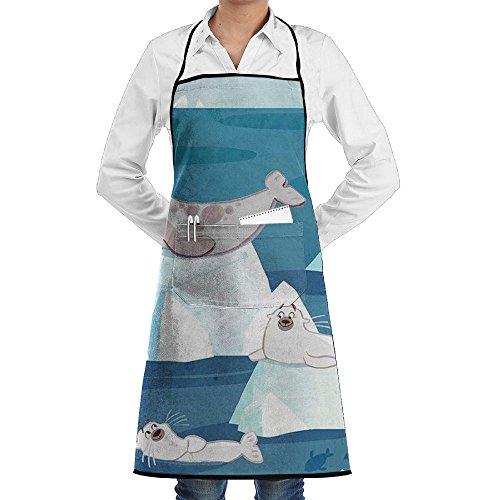 Wyfcxc Seals Animal Designer Chef Aprons Cookingrn Shop Aprons Sewing Pocket