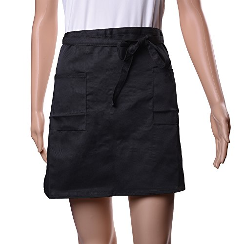Kloud City 2 Pockets Short Chef Waist Apron Restaurant Bartender Server Half Bistro Aprons Adjustable Ties Black