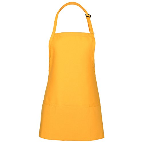 Fame Adults 3 Pocket Bib Apron-Yellow-OS