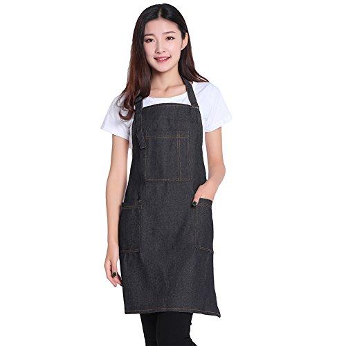 DRELK Adjustable Denim Jean Aprons with 3 Pockets for Women Men Chef Barista Bartender Painter in Cooking Kitchen Bistro CafeDenim JeanBlackOne Size