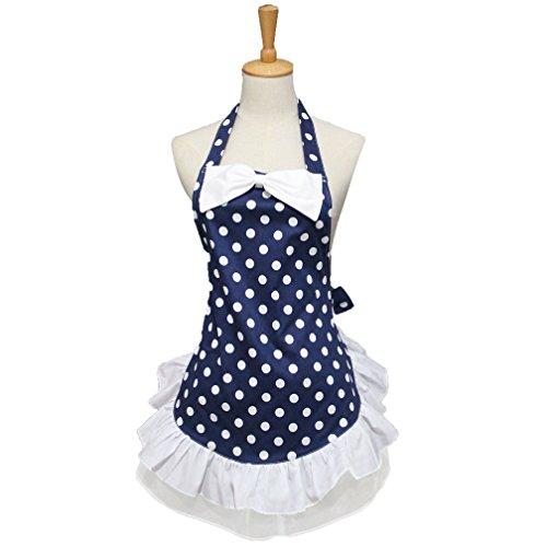 HOTER Lovely Bowknot Polka Dots Handmade Kitchen Apron Cooking Salon Pinafore Vintage Apron Dress